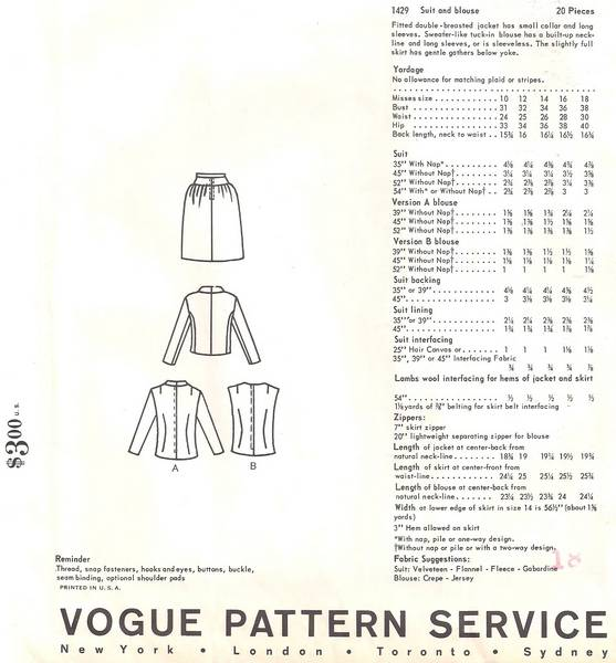 Christian Dior Vogue 1429 Paris Suit and Blouse Pattern B34