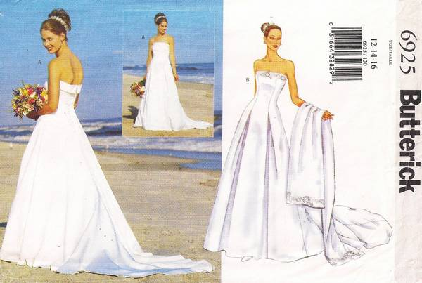 Butterick 6925 Strapless Bridal Gown with Train Pattern 12-16