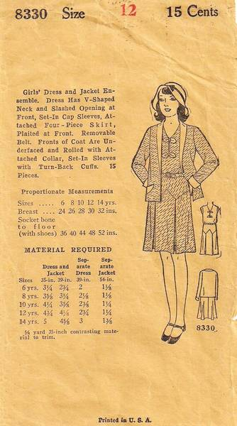 1920's Vintage Pattern Girls' Dress and Jacket Ensemble Sz 12