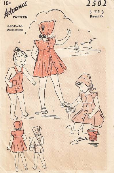 1940's Vtg Child's Play Suit, Dress, Bonnet Pattern Size 3