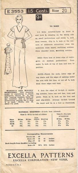 1930's Excella 3553 Misses' Nightgown Pattern Bust 38 - Click Image to Close