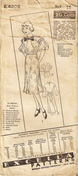 1930's Excella 4202 Juniors' Frock Pattern Bust 33