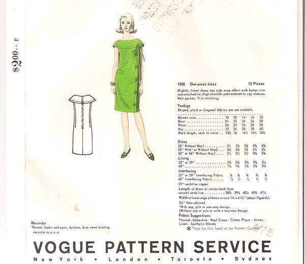 Cardin Vogue 1508 Shoulder Yoke Dress 60's Pattern Bust 36