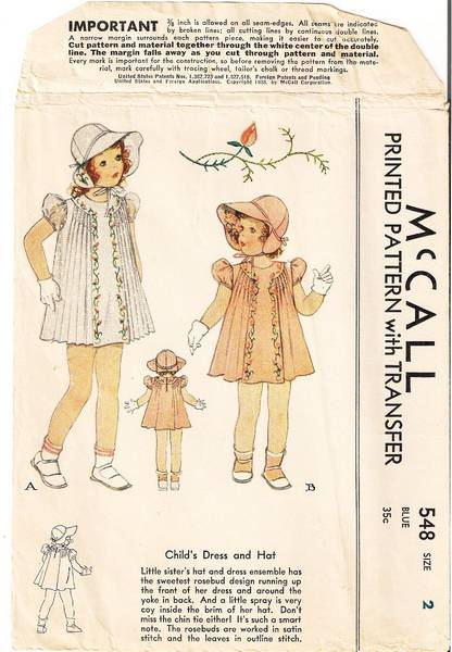 30's Vintage McCall Child's Dress and Hat Pattern Size 2
