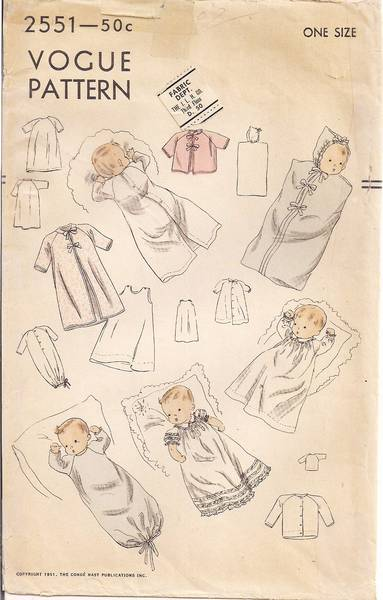 Infant's Clothing Bunting Gertrude Vtg 1950's Vogue 2551 Pattern