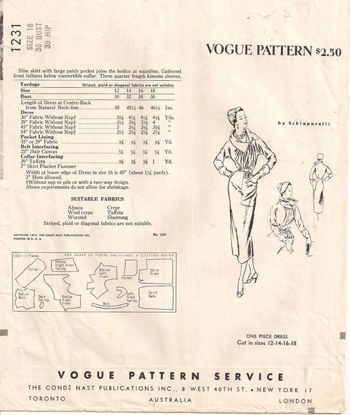 Schiaparelli Vogue 1231 Paris Original Dress Pattern