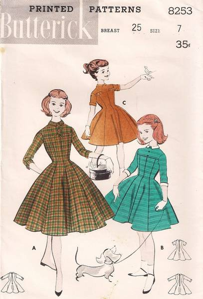 1950's Butterick 8253 Girls Empire Princess Dress Pattern Sz 7