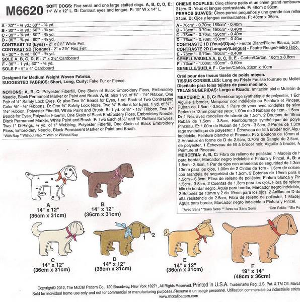 McCall's 6620 Six Stuffed Dogs Pattern - Click Image to Close