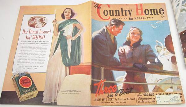 1938 Country Home Magazine, Tom Lovel Cover, Man, Woman, Ship