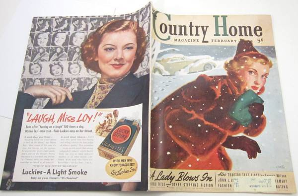 1938 Country Home Magazine, Al Parker Cover - Woman, Snow, Auto,