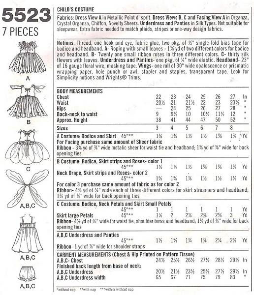 Simplicity 5523 Girls Fairy and Wings Costume Pattern Size 3-8
