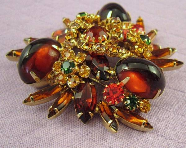 Spectacular Vintage Juliana Style Brooch In Autumn Tones