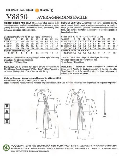 Vogue 8850 Vintage Model Tab and Drape Dress Pattern 16-24