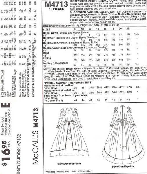 Alicyn Exclusives Renaissance Style Bridal Gown Pattern 16-22