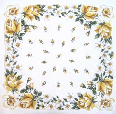 Yellow Roses, Jonquils, Daffodils Vintage Cotton Hankie