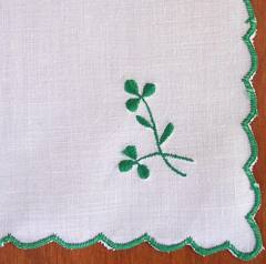 White Linen Hankie with Embroidered Shamrocks