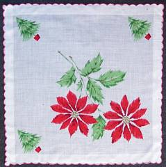 Poinsettia and Christmas Trees Vintage Cotton Hankie