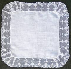 Net Lace Edge Vintage White Hankie