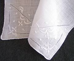 White-on-white Embroidered Vintage Linen Hankie