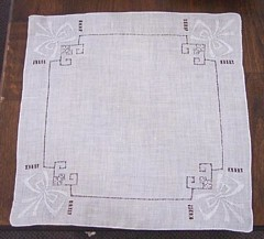 Drawn Thread and Bow Applique White Vintage Handkerchief