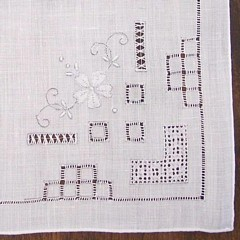 Vintage White Hankie with Drawn Work and Embroidery