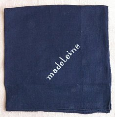 Madelaine White Embroidery on Navy Blue Hankie