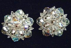 Vintage Faceted Crystal Blizzard Estate Earrings
