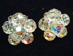 Vintage Rainbow Flower Faceted Crystal Estate Earrings