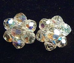 Vintage Faceted Crystal Estate Earrings