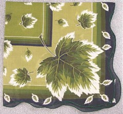 Dark Green Leaves, Scalloped Edge Vintage Handkerchief