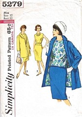 60's Walking Suit and Blouse Vintage Pattern Bust 32