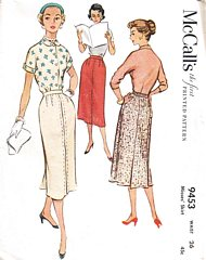 1950's Vtg McCall's 9453 Slim Skirt with Back Box Pleat Pattern