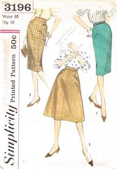 50's Vtg Simplicity 3196 Slim and Flared Skirts Pattern Waist 30