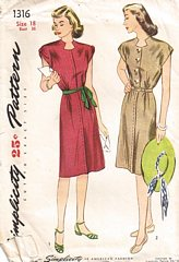 Vintage 1940's WWII Era Simplicity Dress Pattern Bust 36