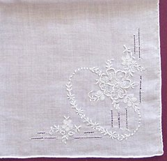 Fine Weight Hankie with Embroidery, Pullwork, Handrolled Edges