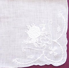 White on White Embroidered Hankie with Scalloped Corners