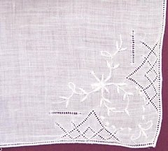 White Embroidery and Drawn Thread Pull Work Vintage Hankie