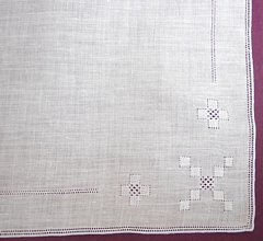 Geometric Pullwork in Four Corners White Hankie