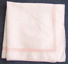Petal Pink Vintage Hankie with Pierced Accents