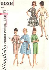 60's Slim and Full Skirt Classic Dress Pattern Bust 34