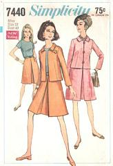Sixties Suit and Blouse Vintage Simplicity 7440 Pattern Bust 40