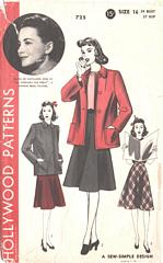 Olivia De Havilland Box Coat, Circular Skirt Pattern Bust 34