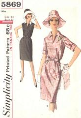 60's Vtg Simplicity 5869 Dress and Hat Pattern Bust 34