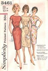 60's Wiggle Dress Simplicity 3461 Pattern Bust 34