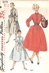 Fifties Vintage Belted Chemise Dress Pattern Bust 32