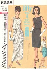 60's Vintage Two Piece Evening Dress Pattern Bust 32