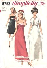 60's Simplicity 6758 Empire Gown and Short Jacket Pattern B31.5