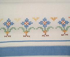 Vintage Huck Hand Towel with Cross Stitch Embroidery