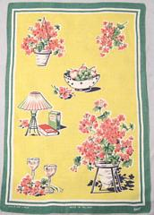 Vintage Lamont Made In Ireland Linen Geranium Towel