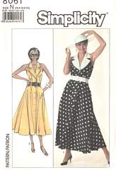 80's Front Button Sleeveless Dress Pattern Size 10-14